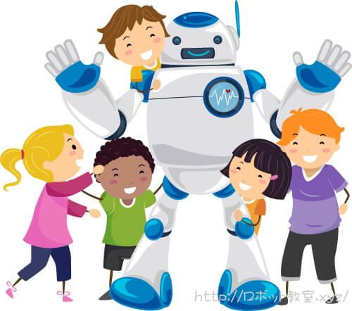 ヒューマノイドロボットと遊ぶ小学生