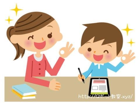 小学生に勉強を教える先生