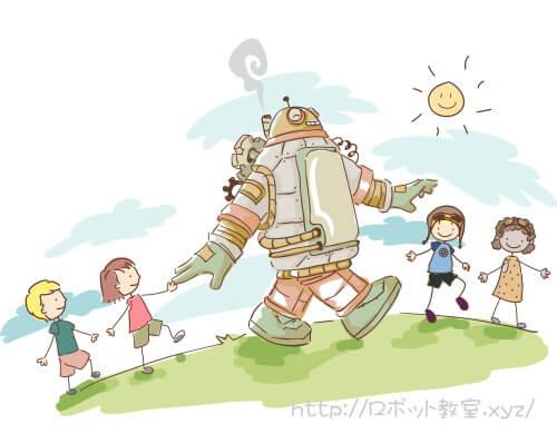小学生とロボットの行進