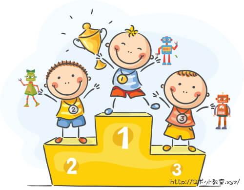 表彰台の上の3人の小学生男子