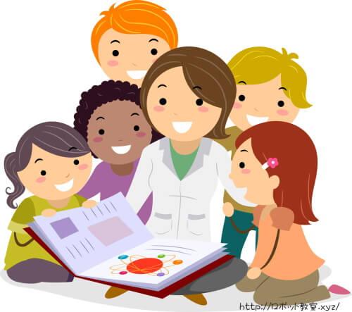 科学の先生のもとに集まり説明を受ける子供たち