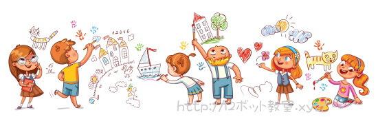 学校でお絵かきする小学生の子供