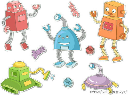 レッド・オレンジ・ブルー・グリーン・パープルのロボット