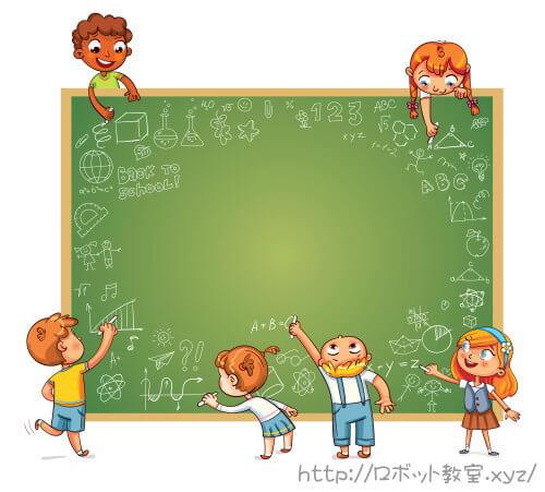 黒板で勉強する小学生の男女