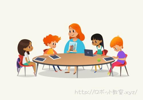 タブレットでプログラミングを学ぶ子供