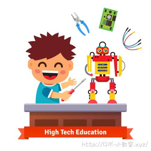 レゴのプログラミングキットでロボットを作る小学生
