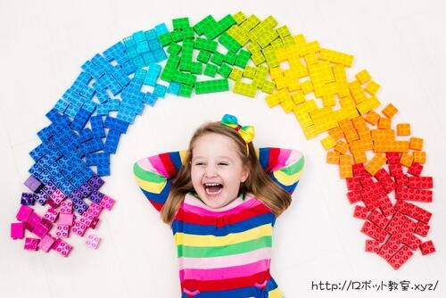 レゴブロックで虹を作りました