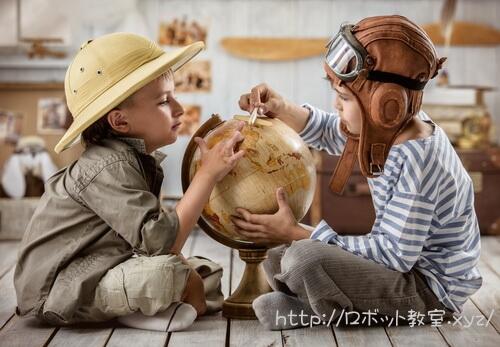 地球儀と2人の子供