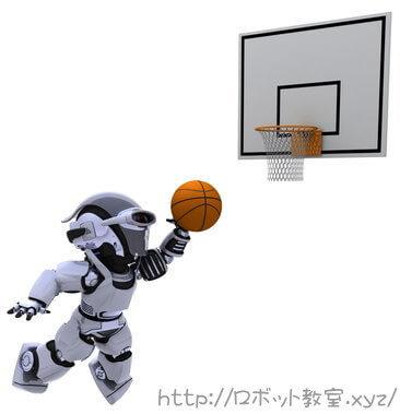 競技大会でバスケットボールをするロボット