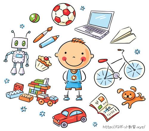 男の子とロボット・パソコン・車・積み木のイラスト