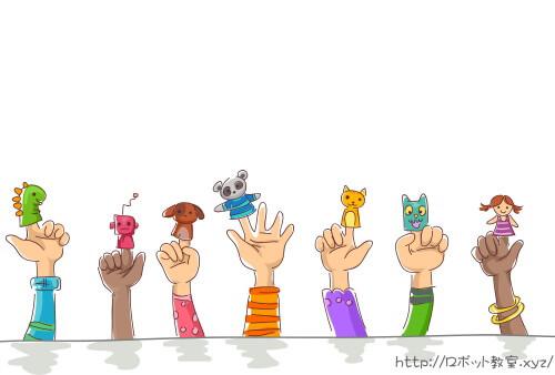指人形(怪獣・ロボット・犬・コアラ・ネコ・女の子)