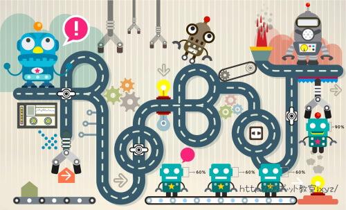 ロボット製作工場のイラスト
