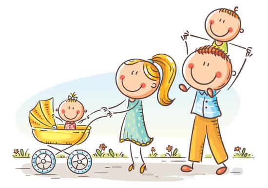 散歩しながら家族でコミュニケーション。