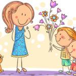 母の日に花をプレゼントする兄弟